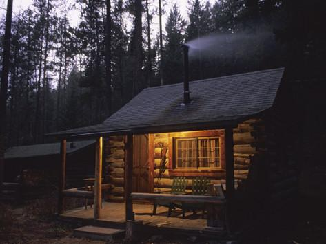 Image result for cabin with smoke and chimney