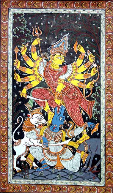 Durga-devi killing Mahish-asura in the form of a buffalo