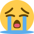 Loudly Crying Face on Twitter Twemoji 2.5
