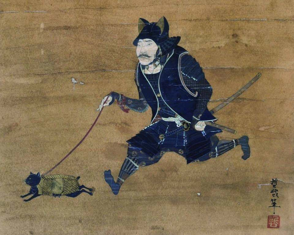 What's the story behind the samurai walking a cat, anyway ...