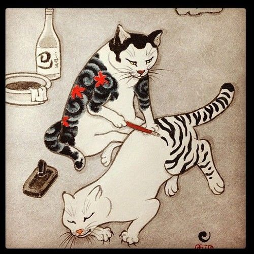 Painting on the stripes.. | Cat art, Cat tattoo, Japanese cat