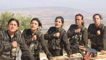 Image result for women's kurdish commander  with troops