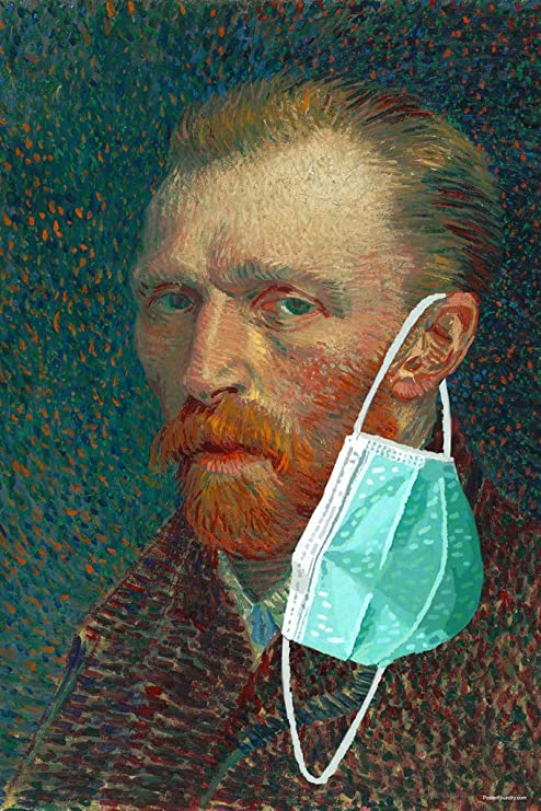 Amazon.com: Vincent Van Gogh Mask Self Portrait Funny Ear Masked Pandemic  Meme Classic Art Parody Cool Wall Decor Art Print Poster 12x18 : Home &  Kitchen