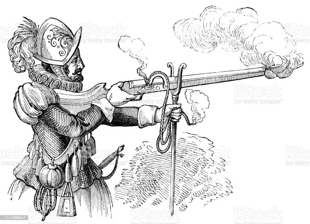 arquebus-early-long-gun-15th-century-illustration-id1147568541.jpg